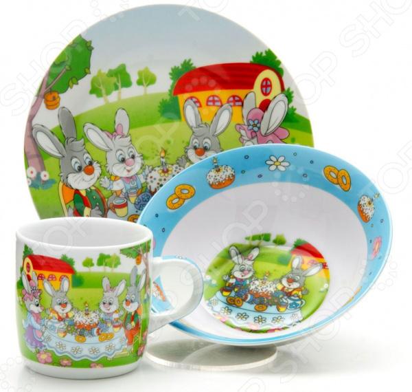 Набор посуды для детей Loraine LR-26096 «Зайчики»