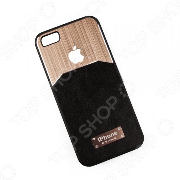 Чехол для iPhone 5/5S/SE «Кожа и металл»