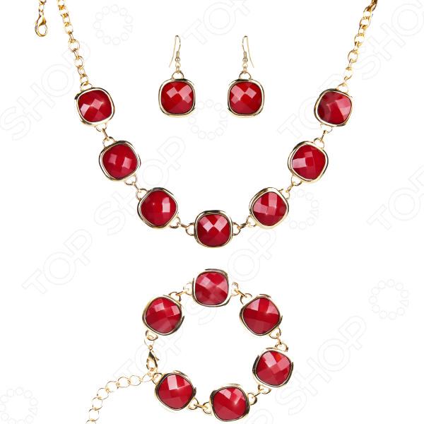 Ожерелье с браслетом и серьгами Laura Amatti «Страстная вишня»