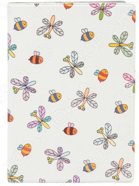Обложка для паспорта кожаная Mitya Veselkov «Стрекозы и пчелки»