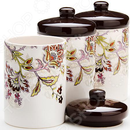 Набор банок для сыпучих продуктов Loraine «Стилизованные цветы» набор банок для сыпучих продуктов loraine бабочки 6 предметов 25633