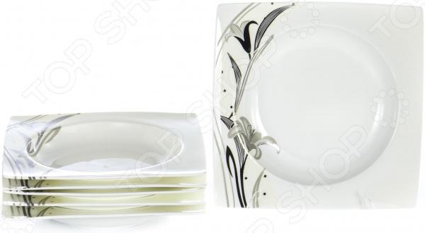 Zakazat.ru: Набор суповых тарелок OlAff «Белый квадрат. Лилия»