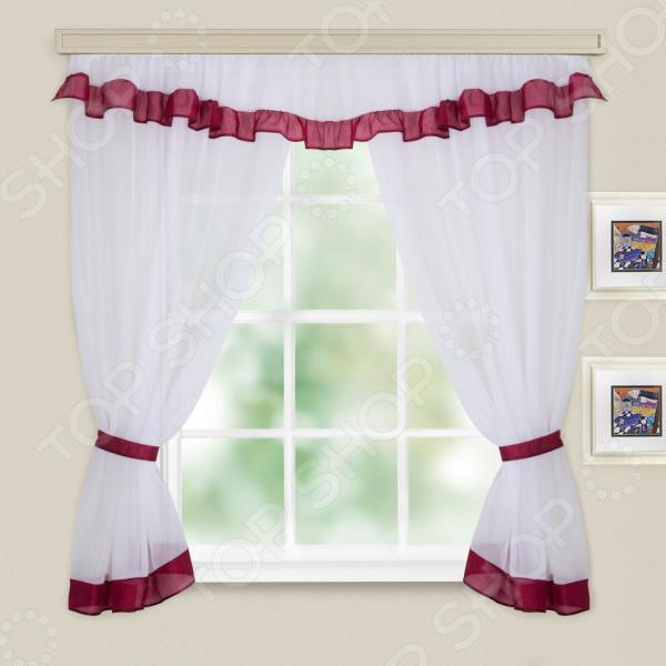 Комплект легких штор WITERRA «Акцент». Цвет: белый, красный