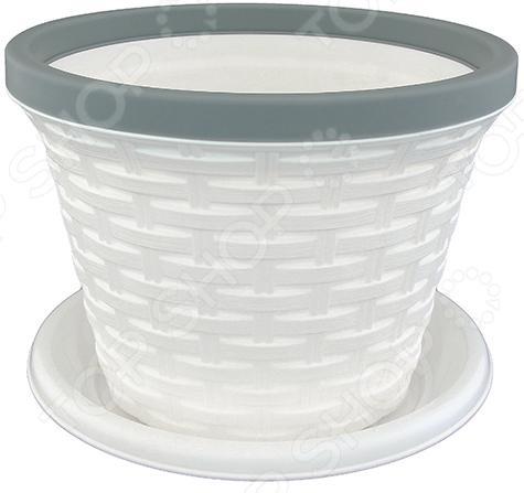 Кашпо круглое с поддоном Violet «Ротанг». Цвет: белый