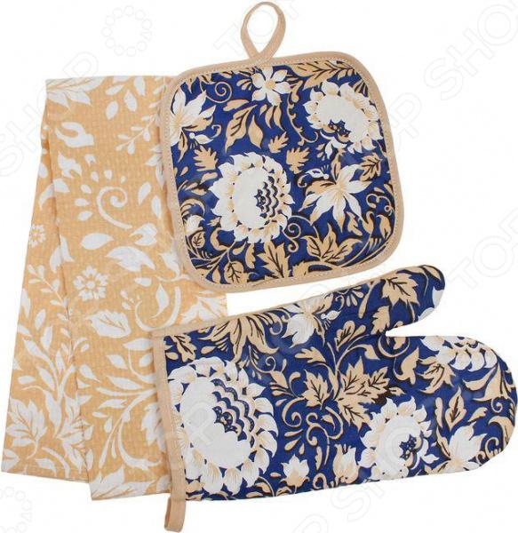 Набор кухонный: прихватка, варежка-прихватка и полотенце BONITA «Белые Росы» варежка прихватка bonita белые росы 18 х 27 см