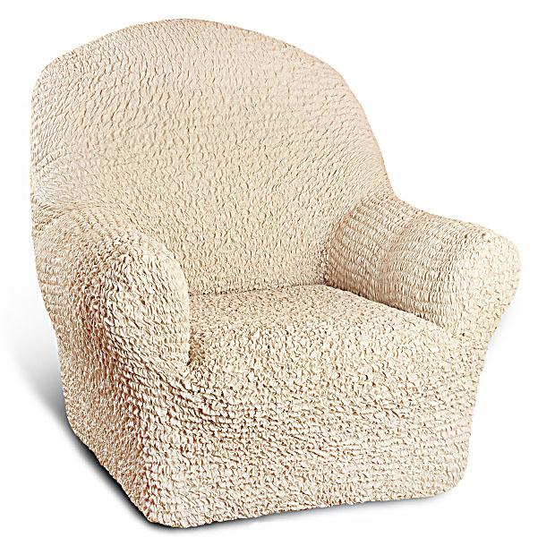Натяжной чехол на кресло Еврочехол «Микрофибра. Ваниль»