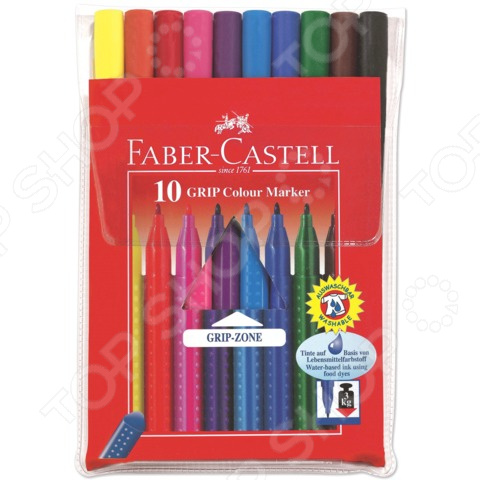 Набор фломастеров Faber-Castell Eberhard Faber Grip 155310 eberhard faber краски для рисования на лице 4 цвета животные