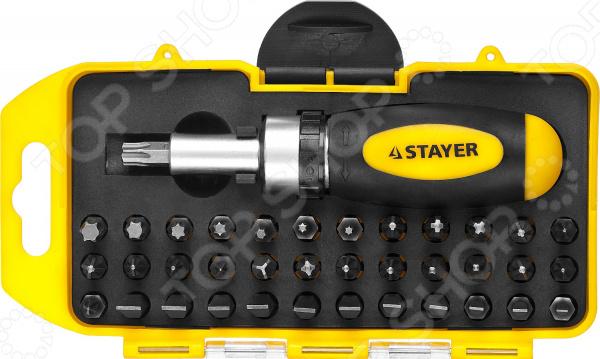 Отвертка реверсивная с набором бит Stayer 2557-H38