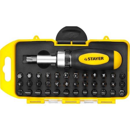 Купить Отвертка реверсивная с набором бит Stayer 2557-H38