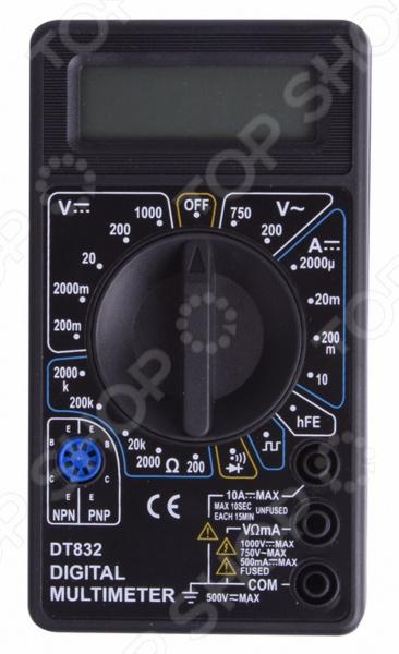 Мультиметр PROconnect M832 электроизмерительный прибор, который включает в себя несколько функций и набор измеряемых параметров. Прибор измеряет постоянное и переменное напряжение, постоянный ток и сопротивление в цепи. Также, с помощью этого мультиметра можно проводить тестирование диодов. Преимущества:  Прибор портативный, небольшого размера, что позволяет всегда носить его с собой.  Несмотря на малые размеры, мультиметр обладает широким функционалом.  Выбор измеряемых величин и пределов измерений производиться с помощью усиленного поворотного регулятора, благодаря которому исключается возможность случайного нажатия.  Прибор изготовлен из высококачественных материалов, калибровка и тестирование приборов произведено под контролем компании Rexant International. Характеристики:  Постоянное напряжение: 200mВ 0.5 3 , 2000мВ 20В 200В 0,8 5 , 1000В 1,0 5 .  Переменное напряжение: 200В 750В 2,0 10 .  Постоянный ток: 200мкА 2000мкА 20мА 1.8 2 , 200мА 2,0 2 , 10A 2.0 10 .  Сопротивление: 200Ом 1,0 10 , 200Ом 20КОм 200КОм 2000КОм 1,0 4 .  Тестирование диодов.  Прозвонка целостности цепи.  Генератор прямоугольного сигнала меандр . Тип батареи Rexant 9В Крона в комплекте .