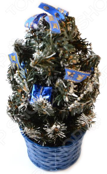 Ель декоративная «Синие банты». Высота: 20 см