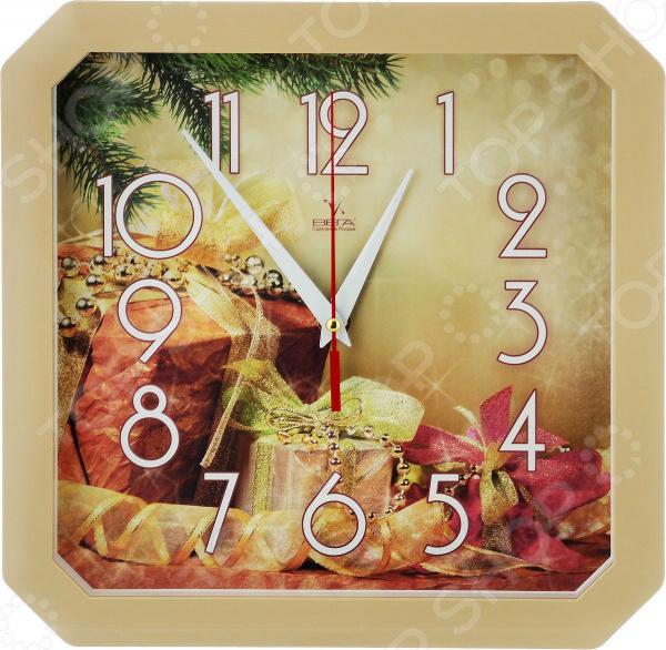 Часы настенные Вега П 4-14/7-86 «Новогодние подарки» часы настенные вега п 4 14 7 86 новогодние подарки