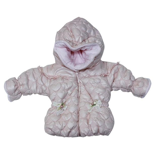 фото Куртка утепленная с капюшоном Bebetto «Сердечки». Цвет: розовый
