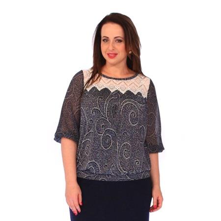 Купить Блуза Wisell «Нежное кружево». Цвет: синий, бежевый