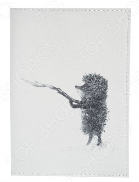 Обложка для паспорта кожаная Mitya Veselkov «Ежик с веточкой» обложки mitya veselkov обложка для паспорта ежик в тумане