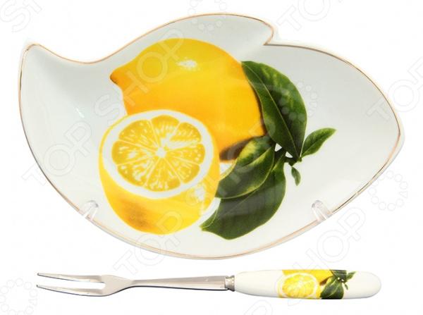 Тарелка для лимона с вилкой Elan Gallery «Лимоны» как лимоны в фермере на халяву