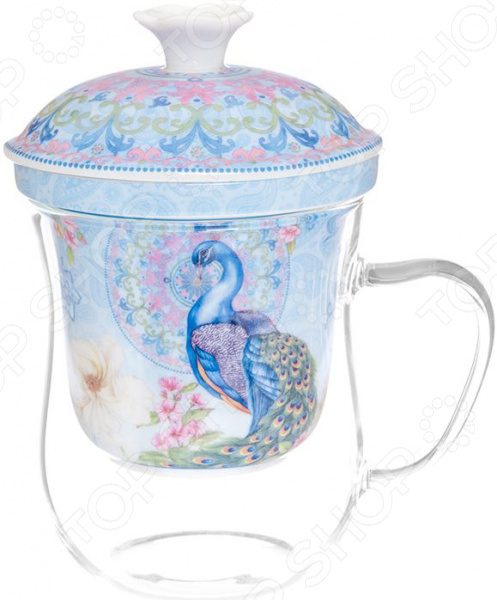 Кружка с заварником Elan Gallery «Павлин в райском саду» вазы elan gallery ваза павлин в райском саду