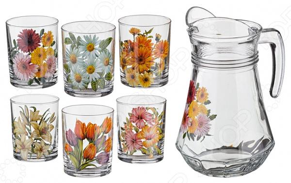 Набор: кувшин и 6 стаканов «Цветы»
