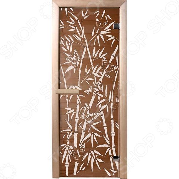 Не секрет, что при проектировке и оборудовании бани и сауны, особое внимание следует уделить качеству и материалу изготовления входных дверей. Обязательным условием является их устойчивость к высоким температурам и повышенной влажности. Дверь для бани Банные штучки Бамбук и бабочки является отличным вариантом для парной. Она выполнена из стекла и снабжена двумя петлями, герметично закрывается и обладает хорошими теплоизолирующими свойствами.