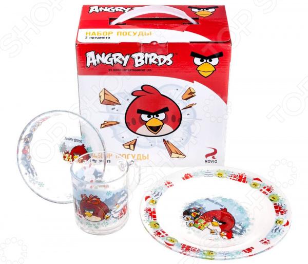 Набор детской посуды Angry Birds «Зима»