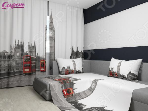 Комплект: фотошторы и покрывало Сирень «Лондон» фотошторы сирень фотошторы оттенки цветов