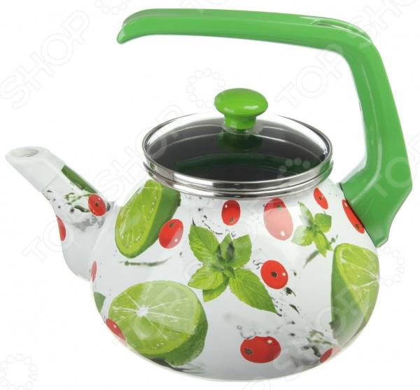 где купить Чайник эмалированный Interos 3033 «Мохито» дешево