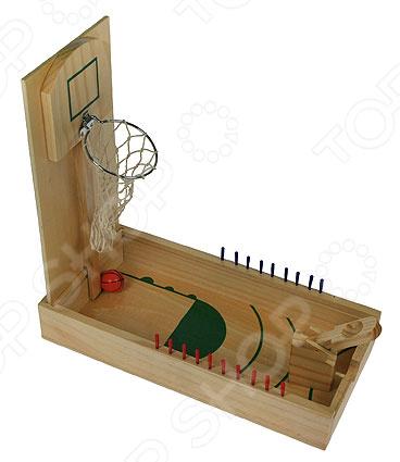 Игра настольная 2 в 1: пинбол и баскетбол 42328 увлекательная игра для любых возрастов. Цель игры попасть шариком в корзину. Играя в неё можно развить ловкость, глазомер, а также интересно провести свободное время дома или в дороге. Выполнена игра из дерева, поэтому стоит беречь от влаги. Размер поля 36х18х6 см.