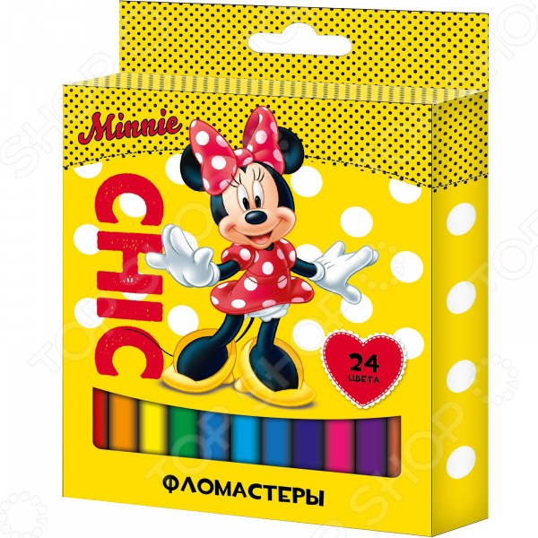 Набор фломастеров Disney «Минни»: 24 цвета фломастеры disney минни 24 цвета