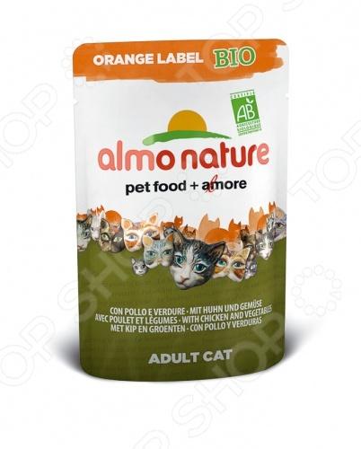 Корм влажный для кошек Almo Nature Orange Label Bio Adult with Chicken and Vegetables качественный и экологически чистый корм, который идеально подходит для вашего питомца. За счет идеально сбалансированного состава он будет идеальным решение для домашних кошек, склонных к полноте или кастрированных котов, стерилизованных кошек. Данный корм включает в себя только отборные натуральные ингредиенты, дополнительно обогащенный высококачественными био-добавками из 100 натурального хозяйства. Благодаря этому ваш питомец будет получать только нужное количество полезных веществ, витаминов и минералов. Приятный, натуральный вкус курицы, приятная текстура корма пауча придется по душе даже самой капризной и привередливой кошке. Благодаря тому, что рацион не содержит ГМО, красителей, химических добавок, консервантов и антибиотиков, он будет безопасен для вашего питомца. Корм влажный для кошек Almo Nature Orange Label Bio Adult with Chicken and Vegetables будет прекрасным выбором для вашего питомца, так как:  выполнен из ингредиентов, которые соответствуют стандарту Human Grade;  нежный корм легко переваривается и максимально эффективно усваивается организмом;  все ингредиенты проходят лишь механическую обработку без использования химических веществ;  кусочки мяса и злаки приготовлены в собственном бульоне сохраняют все свои питательные вещества. Внимание! Следите за тем, что у вашего питомца в миске всегда была чистая и свежая вода.