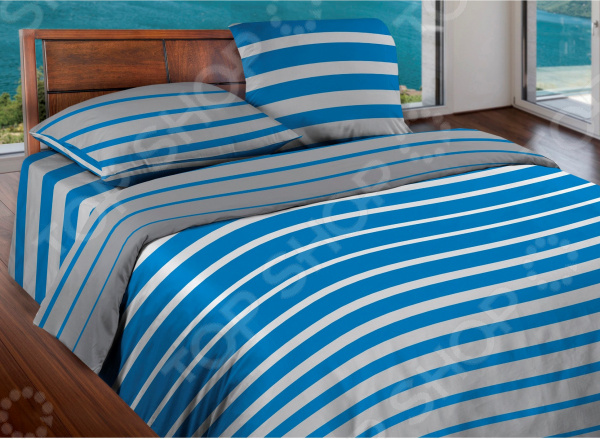 Комплект постельного белья Wenge Stripe. 1,5-спальный. Цвет: синий