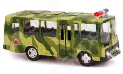 Машинка инерционная металлическая PlaySmart «Военный автобус»