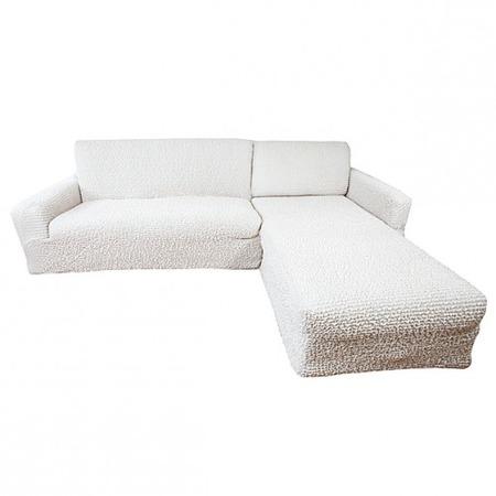 Купить Натяжной чехол на угловой диван с выступом справа Еврочехол «Микрофибра. Ваниль»