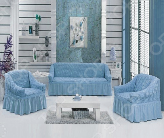 Натяжной чехол на трехместный диван и чехлы на два кресла Karbeltex 1731164