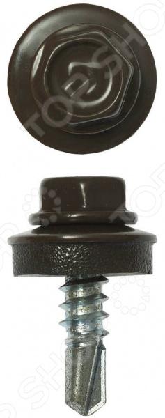 Набор саморезов кровельных Зубр СКМ для металлических конструкций. Цвет: коричневый