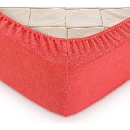Купить Простыня на резинке ТексДизайн махровая. Цвет: коралловый