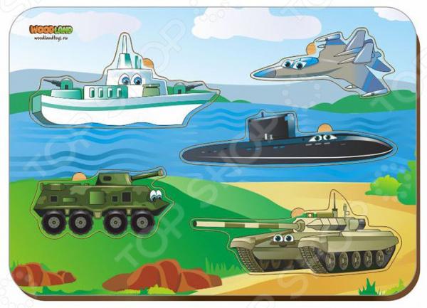 Игра развивающая WoodLand «Рамка-вкладыш: Военная техника»
