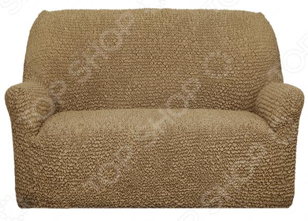 Натяжной чехол на двухместный диван Еврочехол «Микрофибра. Кофейный»