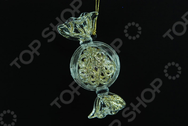 Новогоднее украшение Crystal Deco «Конфета с глиттером» Новогоднее украшение Crystal Deco «Конфета с глиттером» /Шампань/Золотистый