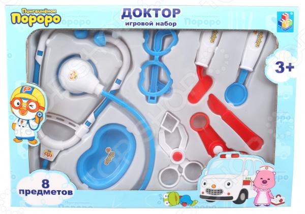 Набор доктора игрушечный 1 Toy «Пингвиненок Пороро» Т54650 ролевые игры 1 toy чайный сервиз пингвиненок пороро 8 предметов