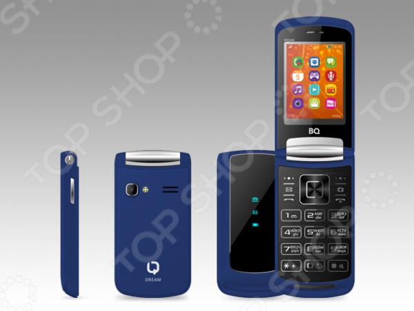 Телефон мобильный BQ Мечта компактная модель, созданная специально для любителей классического форм-фактора раскладушка . Такая конструкция позволила инженерам одновременно разместить экран с диагональю 2,4 дюйма и большую клавиатуру. Она очень удобна для набора текстовых сообщений, при этом по своему дизайну напоминает сенсорную панель.  Внешняя панель оснащена основными информационными иконками: низкий заряд, новое SMS или звонок.  Ушко для подвешивания брелка не предусмотрено.  Встроенный FM-приемник для прослушивания любимых радиостанций.  Предусмотрен модуль Bluetooth для передачи различных данных.  Возможность расширения памяти за счет приобретения microSD карт до 32 Гб.