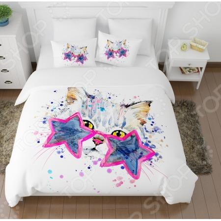 Купить Комплект постельного белья Сирень «Звездный кот»