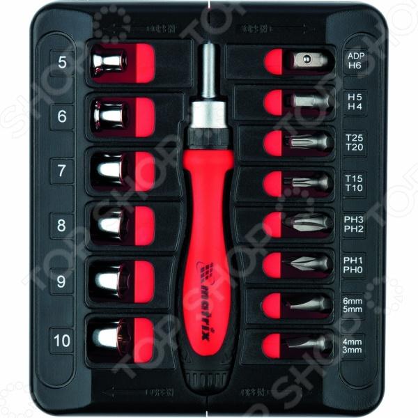 Отвертка реверсивная с битами и торцевыми головками MATRIX 11786 набор kraftool отвертка реверсивная с битами и торцевыми головками 29 предметов 25556 h29