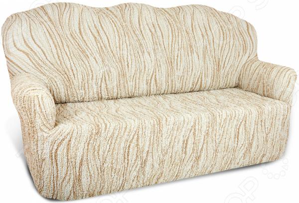 Натяжной чехол на трехместный диван Еврочехол «Виста. Элегант Крем» 2