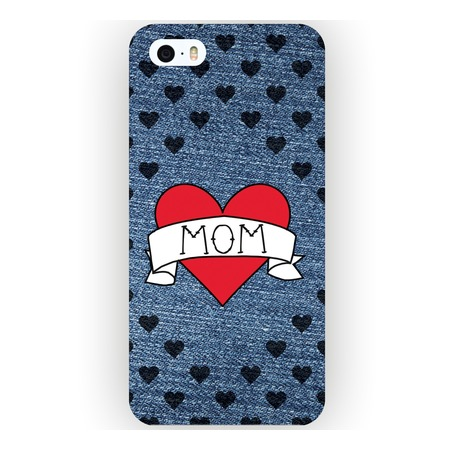 Чехол для iPhone 5 Mitya Veselkov «I love mom на джинсовом»