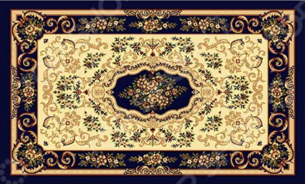 Ковер прямоугольный Kamalak tekstil «Цветочное плетение». Цвет: синий - артикул: 1602008