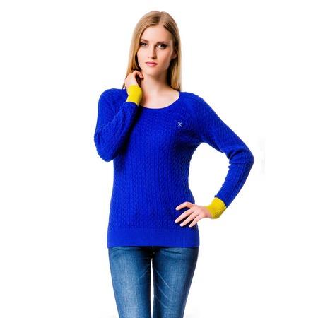 Купить Свитер Mondigo 10022. Цвет: синий с желтыми манжетами