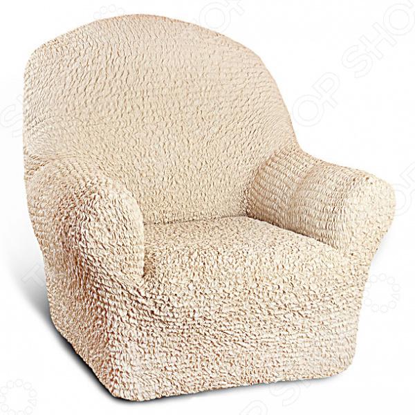 Натяжной чехол на кресло Еврочехол «Микрофибра. Ваниль» 1