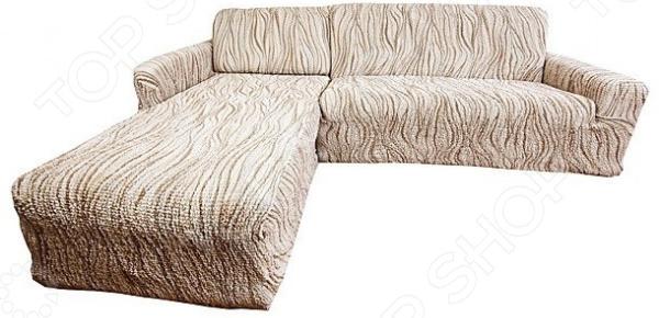 Zakazat.ru: Натяжной чехол на угловой диван с выступом слева Еврочехол «Виста. Элегант Крем»