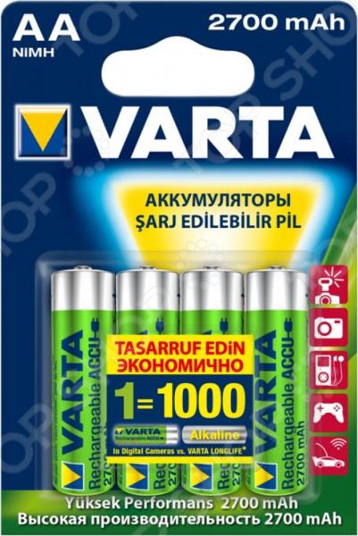 Батарея аккумуляторная VARTA AA 2700 мАч батарея аккумуляторная aa gp rechargeable 2500 мач 2 шт