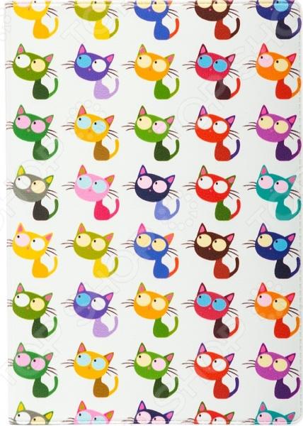 Обложка для автодокументов кожаная Mitya Veselkov «Цветные кошки в ряд»